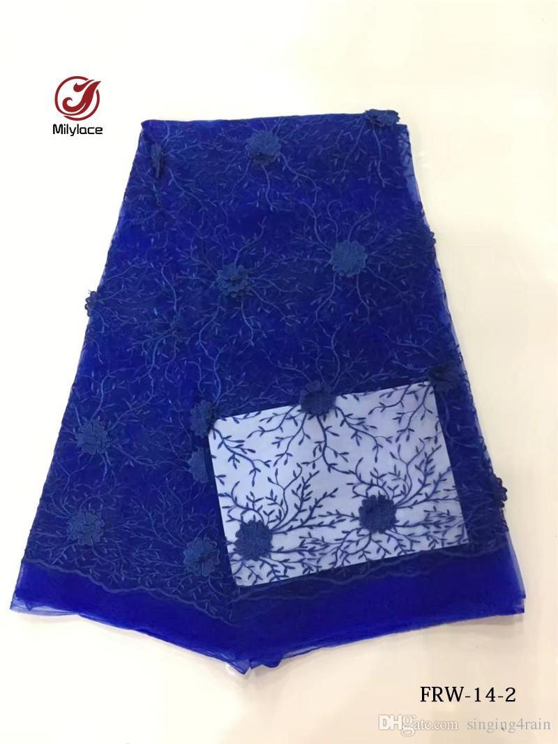 2017 vente Chaude !!! tissu africain / 5 mètres broderie tulle dentelle tissu de mariage / robe de soirée dentelle FRW-14