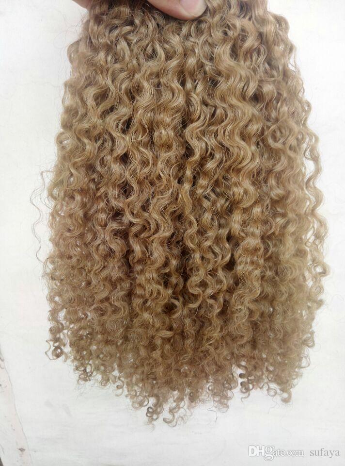 브라질 인간의 처녀 레미 클립 기능 머리 확장 곱슬 곱슬 머리 씨실 medum 갈색 어두운 금발
