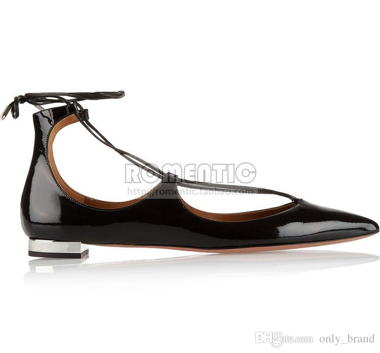 2017 Westerm Style Spring and Summer New Black Leather Sheepskin Tip Flat Bottom Lace Shoes Leisure Womens Shoes