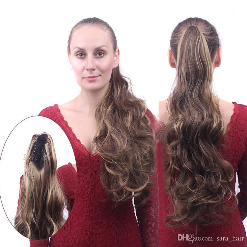 Сара Леди кудрявый вьющиеся конский хвост наращивание волос Коготь клип в аналогичных человеческих хвост хвощ синтетические шиньон кусок расширения 55 см, 22 дюйма
