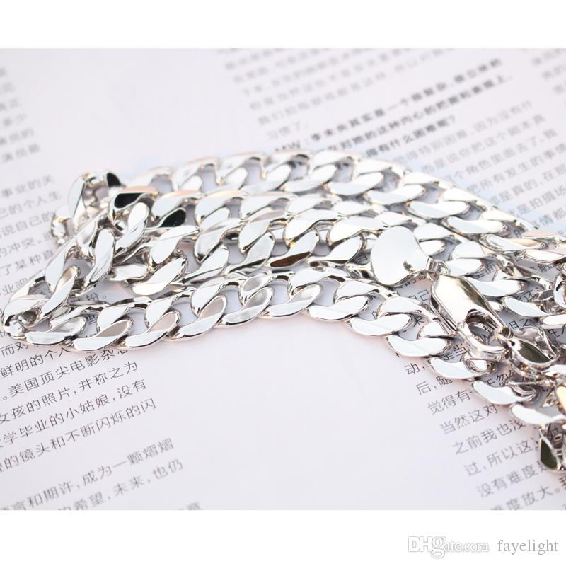 Pesada cadena 24 K oro blanco lleno de hombres collar de eslabones de bordillo joyería 23.6 pulgadas 12 mm tamaño: 23.6