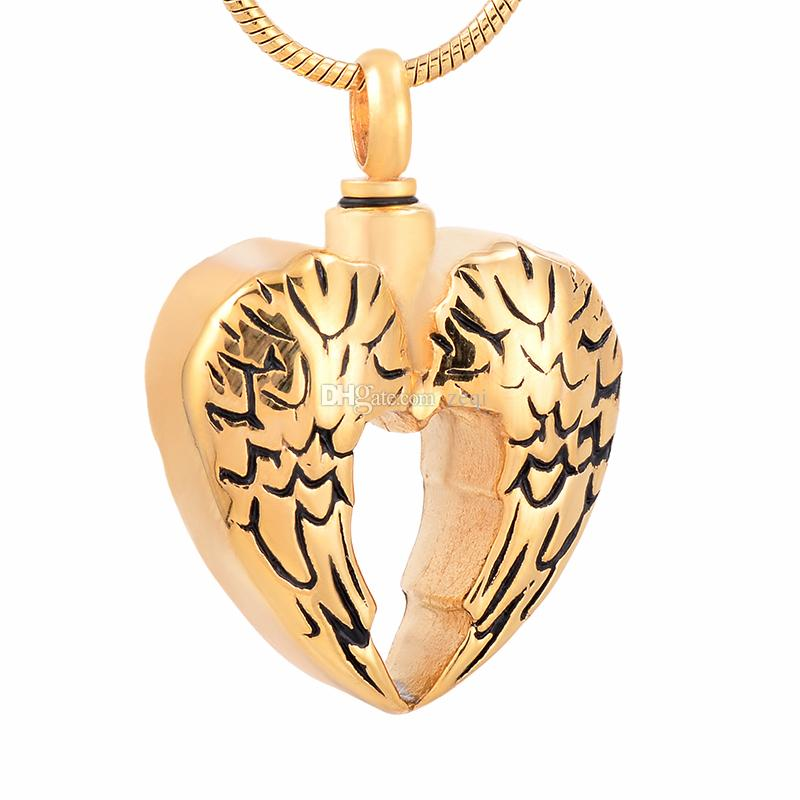 IJD9764 Herz Feuerbestattung Anhänger Halskette Feder Oberfläche 316L Edelstahl Asche Andenken Urne Halskette