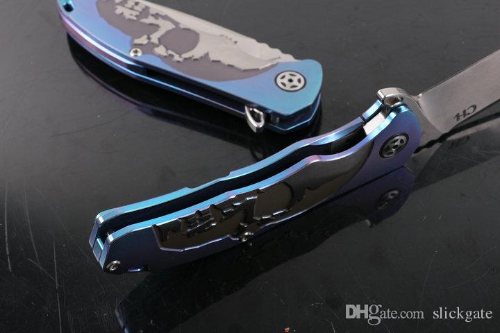 Top Quality High End Knife Blue CH3504 100% Stonewash S35VN TC4 Titanium Ball Bearing System Camping Tactical Knife Gift F969L