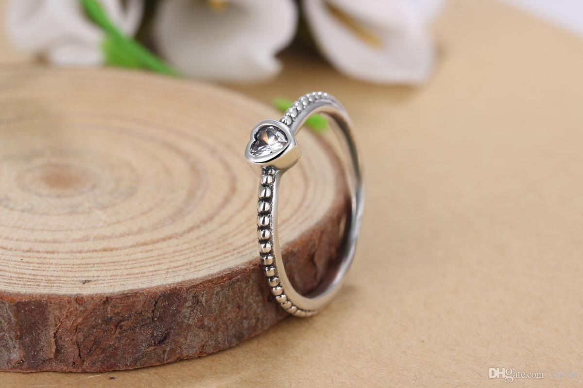 Atacado 925 anel de coração de prata Fit Pandora cz aniversário jóias para mulheres presente de natal