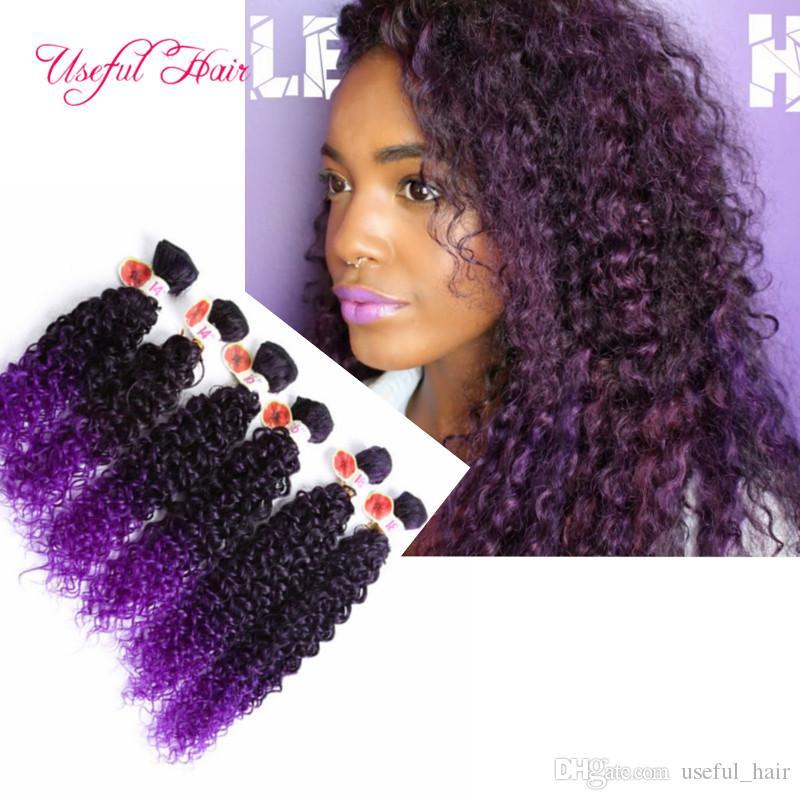 Kinky bouclé ombre marron coudre dans les extensions de cheveux / synthétique trame cheveux ombre marron, violet synthétique tressage crochet extensions de cheveux