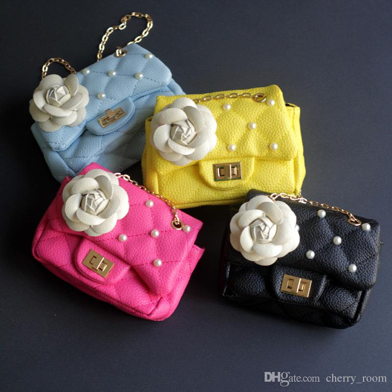 Baby Flower beads Bag Fashion Kids Handbags Little Girls Gifts Toddler Purse Kid Mini Messenger Bag Children PU Leather Shoulder Bags A7112