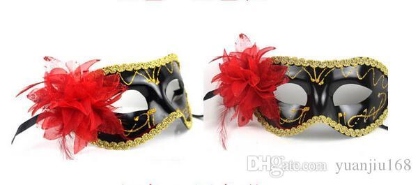 Hot Koop Sexy Hallowmas Venetiaans Masker, Maskerademaskers, met Bloem Masker Dans Party Mask