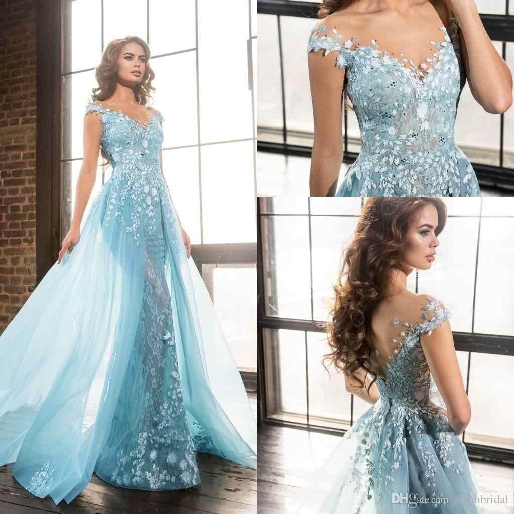 2017 Light Sky Blue Prom Dresses Lace Applique Evening Dresses V ...