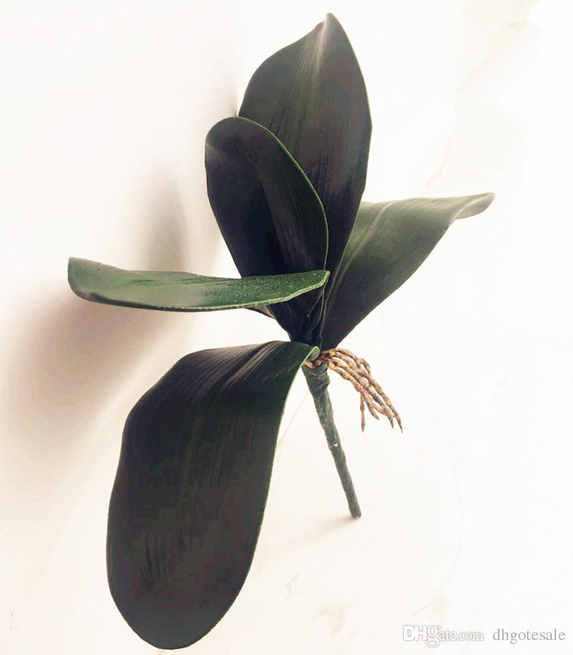 Phalaenopsis Orquídea Folha Bunch 28 cm De Comprimento Orquídea Borboleta Artificial Deixa Planta Verde Casamento Decoração de Casa de Natal
