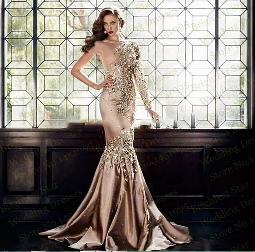Luxury Zuhair Murad Crystal Evening Dresses 2017 Abaya In Dubai One Shoulder Rhinestone Formal Gowns Muslim Long Sleeve Gold Prom Dresses