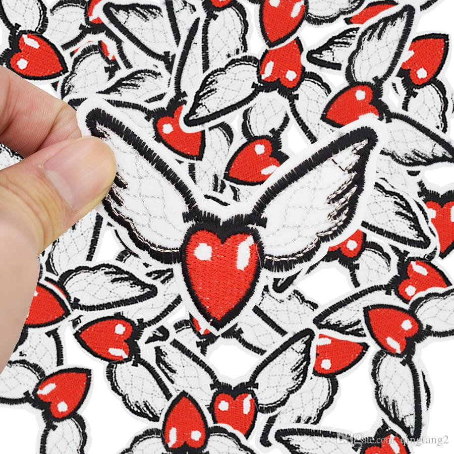 wings heart shape embroidery patches for clothing iron patch for clothes applique sewing accessories stickers on clothes iron on patch