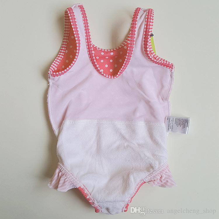 Baby Girls Polka Dot Ruffle Swimwear One Piece Bow Swimsuit Swimming Cosutme For 3-24 Months Child DF13