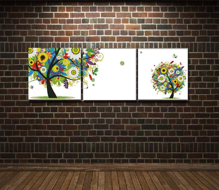 Happy watching triple trees home decor painting , Handmade Cross Stitch Embroidery Needlework sets counted print on canvas DMC 14CT /11CT