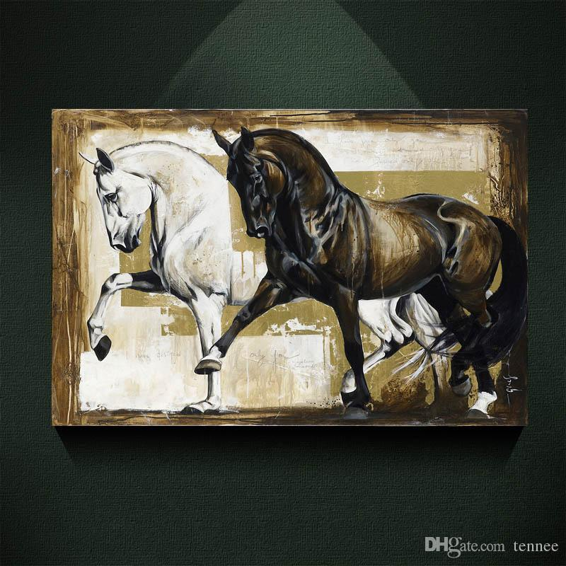 2017 Black And White Elegant Horse Oil Painting Print On Canvas