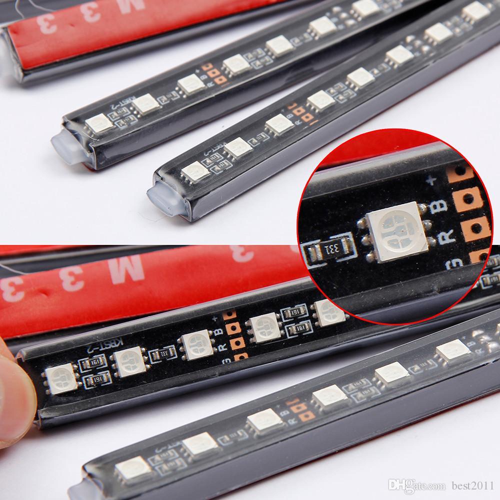 Lámpara RGB LED Strip Light Atmosphere es Car Styling Decorativos Atmósfera Atmósfera Lámparas Interior del vehículo con control remoto