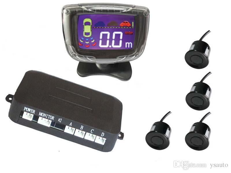 LCD Parkplatz Sensor Menschliche Stimme Alarm Bibi Sound PZ312 PZ313 Digitale LCD Display Auto Crescent Beeper Umkehr Radar Vier Sensoren Freies DHL