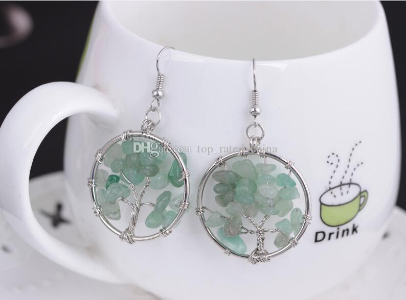 Healing Chakra Tree Of Life Wire Wrapped Tumbled Stone Round Dangle Drop Hook Silver Plated Earrings