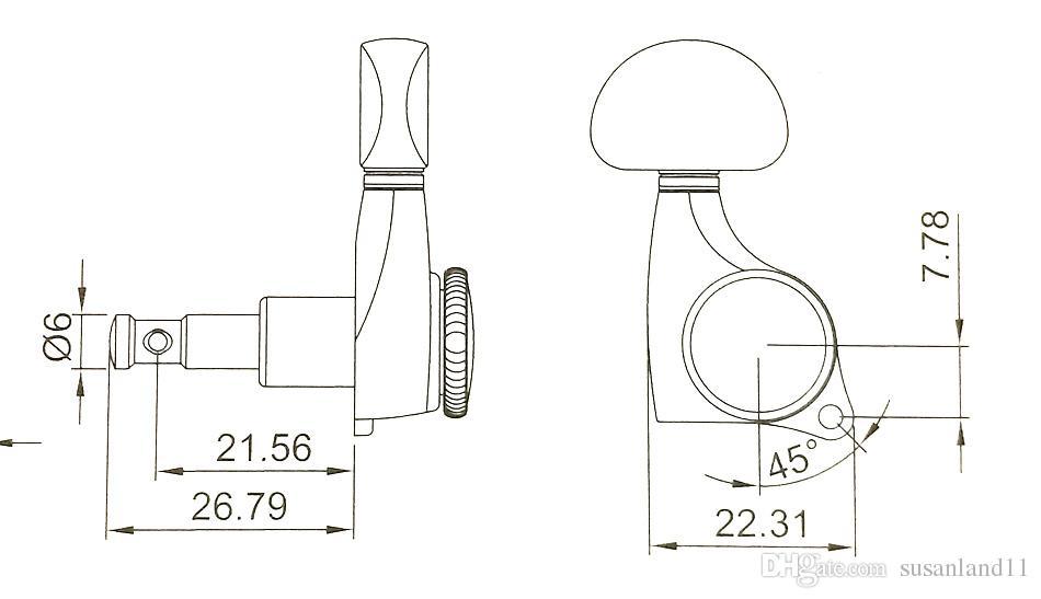 Afinadores de bloqueo 3R3L, cabezales de máquina de bloqueo para guitarras eléctricas / acústicas, relación de engranaje 18: 1 en glod