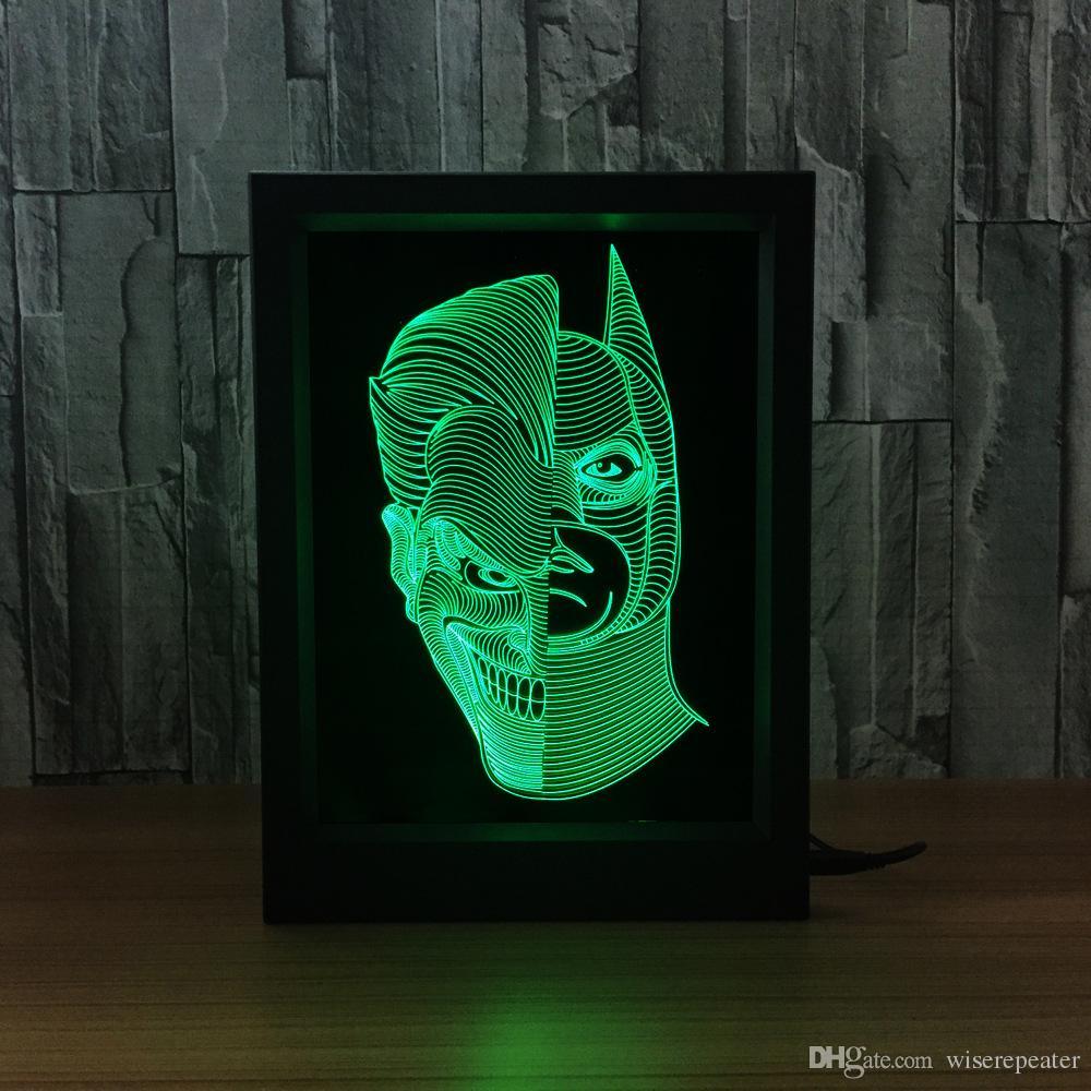 Jack Batman 3D Lamba LED Fotoğraf Çerçevesi Dekorasyon Lambası IR Uzaktan 7 RGB Işıkları DC 5 V Fabrika Drop Shipping Renk Hediye Kutusu