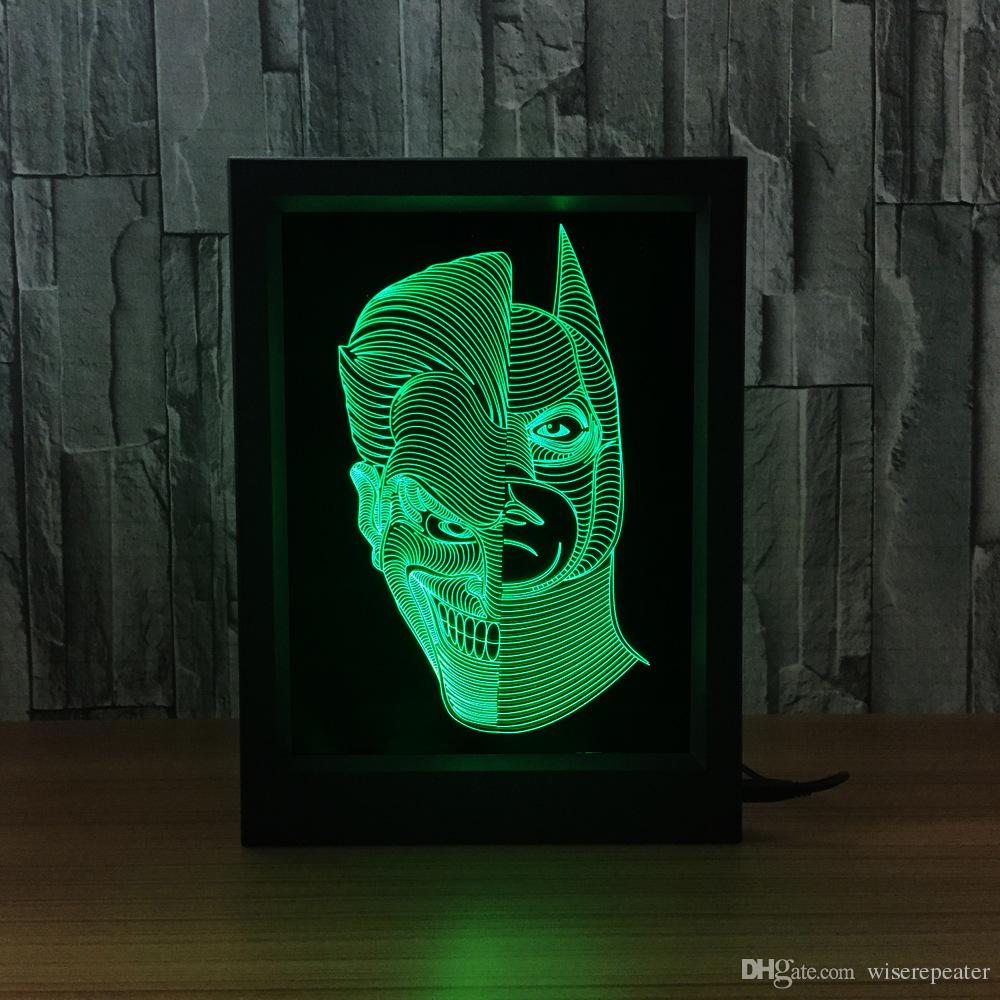 Jack Batman 3D Lamp LED Photo Frame Decoration Lamp IR Remote 7 RGB Lights DC 5V Factory Drop Shipping Color Gift Box