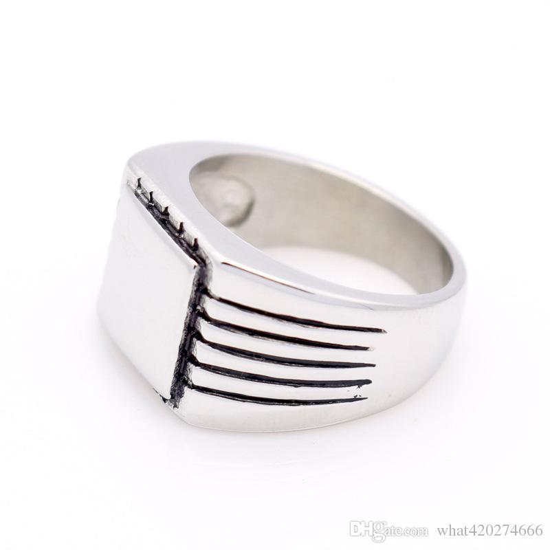 Anello da uomo in acciaio inossidabile 316L con anello in acciaio inossidabile solido con sigillo lucido da uomo, con gioielli in oro