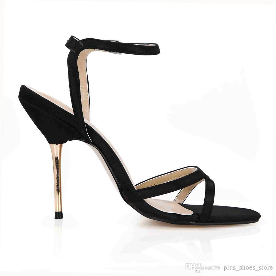Sapatos De Casamento nupcial 2017 Chegam Novas Fivela Cinta de Metal Saltos Reais Imagem Mulheres Sapatos de Verão Sandálias Zapatillas Mujer Sapatos Baratos Em Estoque