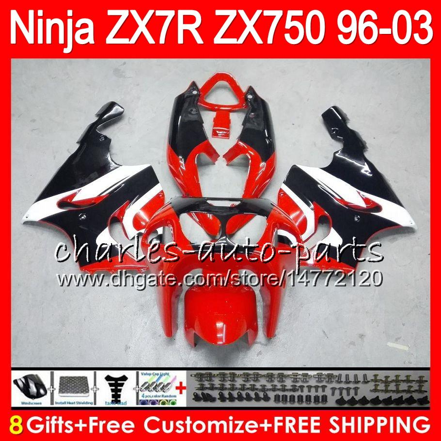 8Gifts 23Colors For KAWASAKI NINJA ZX7R 96 97 98 99 00 01 02 03 18HM5 TOP red black ZX750 ZX 7R ZX-7R 1996 1997 1998 1999 2000 2003 Fairing