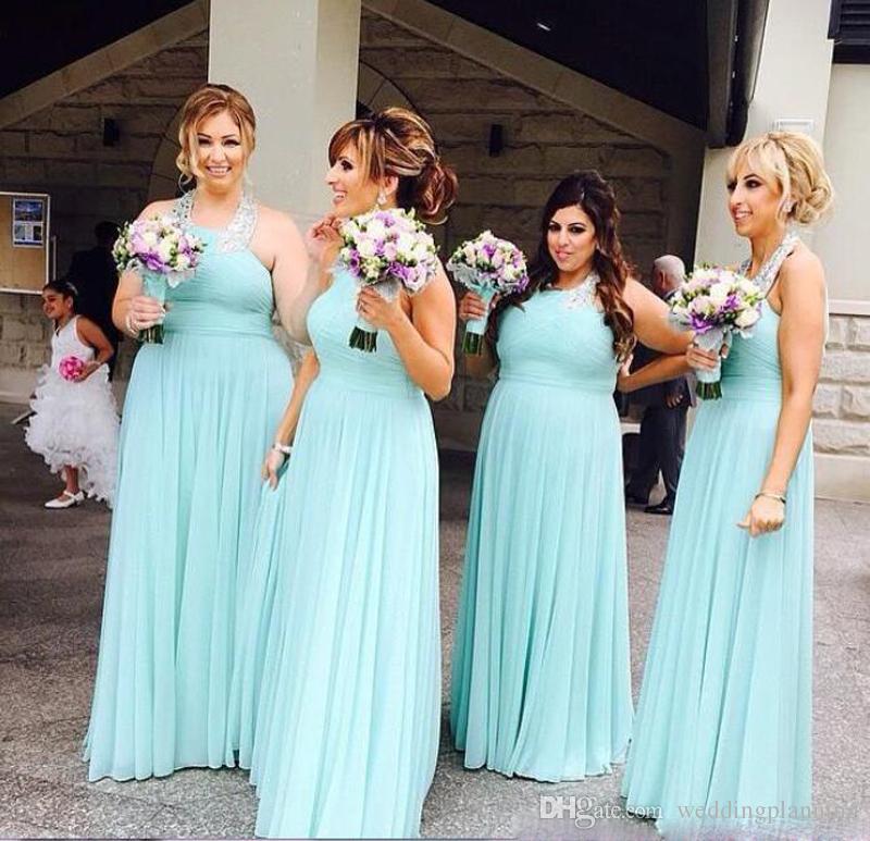 Mint Green Neckholder Chiffon Brautjungfernkleider Lange Abendkleid Trauzeugin Party Kleider Für Hochzeit Günstige Gastkleider