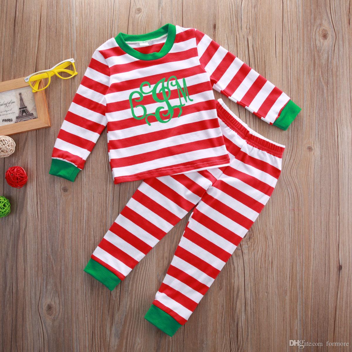 Bébé Fille Garçons Boutique De Noël Vêtements Ensemble Rouge Vêtements Costume Toddler Rayé Automne Enfants De Noël Pyjamas Coton À Manches Longues Tenue
