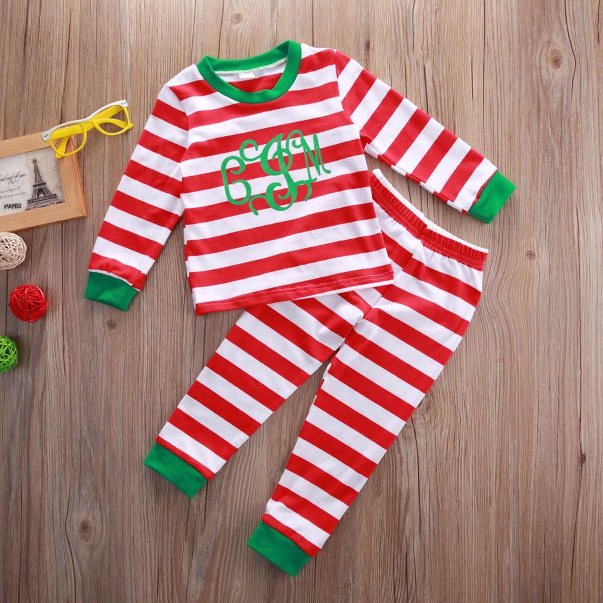 Bébé Fille Garçons Boutique Vêtements De Noël Ensemble Rouge Vêtements Costume Toddler À Rayures Automne Enfants De Noël Pyjamas Coton À Manches Longues Outfit