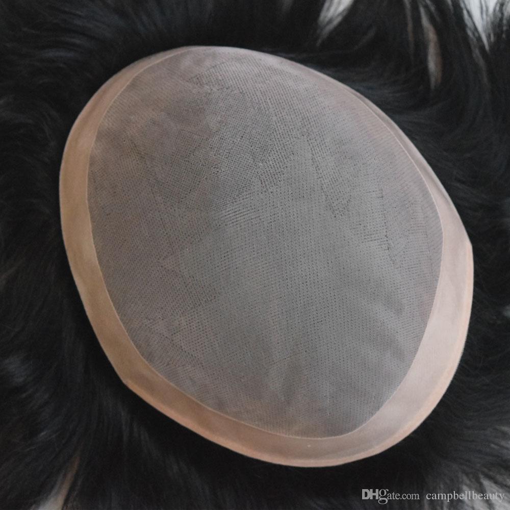 6x8 pouces fine base mono avec Npu autour de la pièce de cheveux humains système de remplacement de cheveux humains toupet