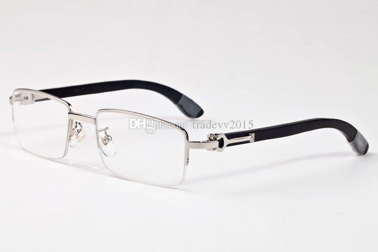 Cool 2018 Nuovi occhiali corno di bufalo Hip Hop Fashion mezzo telaio senza montatura Occhiali da sole firmati di marca Uomo Donna Specchio Occhiali da sole Donna Occhiali da vista