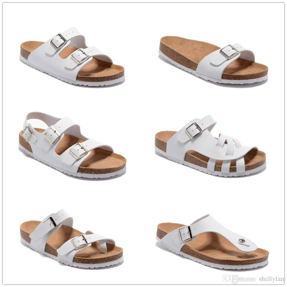 Flat heel sandals images - New Famous Brand Arizona Men Flat Heel Sandals Women Fashion Summer Beaches Casual White Shoes Buckle Top Quality Genuine Leather Slippers Fringe Sandals