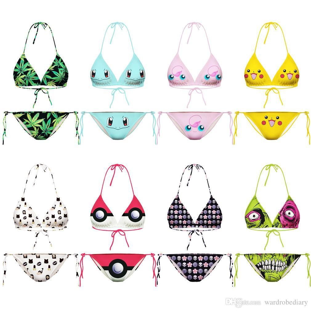Fashion Womens Girls Swimwear Beach Bikinis Sets Pikachu Emojis Poke Pokeball PokéMon Go Swimsuits Pocket Monster Print Poke Bikini Suits