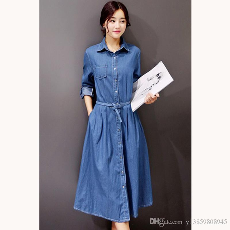 2019 Wholesale 2017 New Women Denim Dresses Spring Summer ...