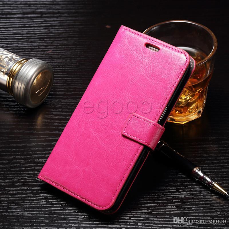 Cartera Funda de cuero Funda con tapa a prueba de golpes con ranura para tarjeta y marco de fotos para iPhone X XS 8 7 6 6S Plus Sumsung S7 edge S8 Plus Nota 8