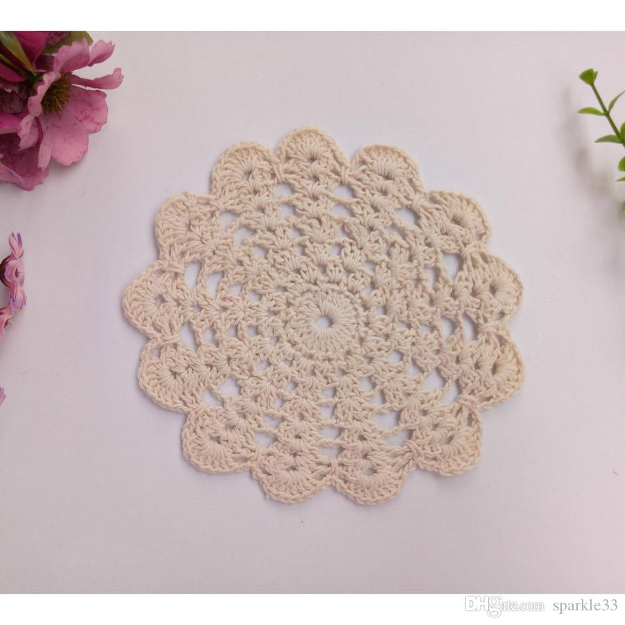 Wholesale Household DIY Handmade Flower Crochet Doilies Round Cup Mat Pad 14-15CM Coaster Placemats