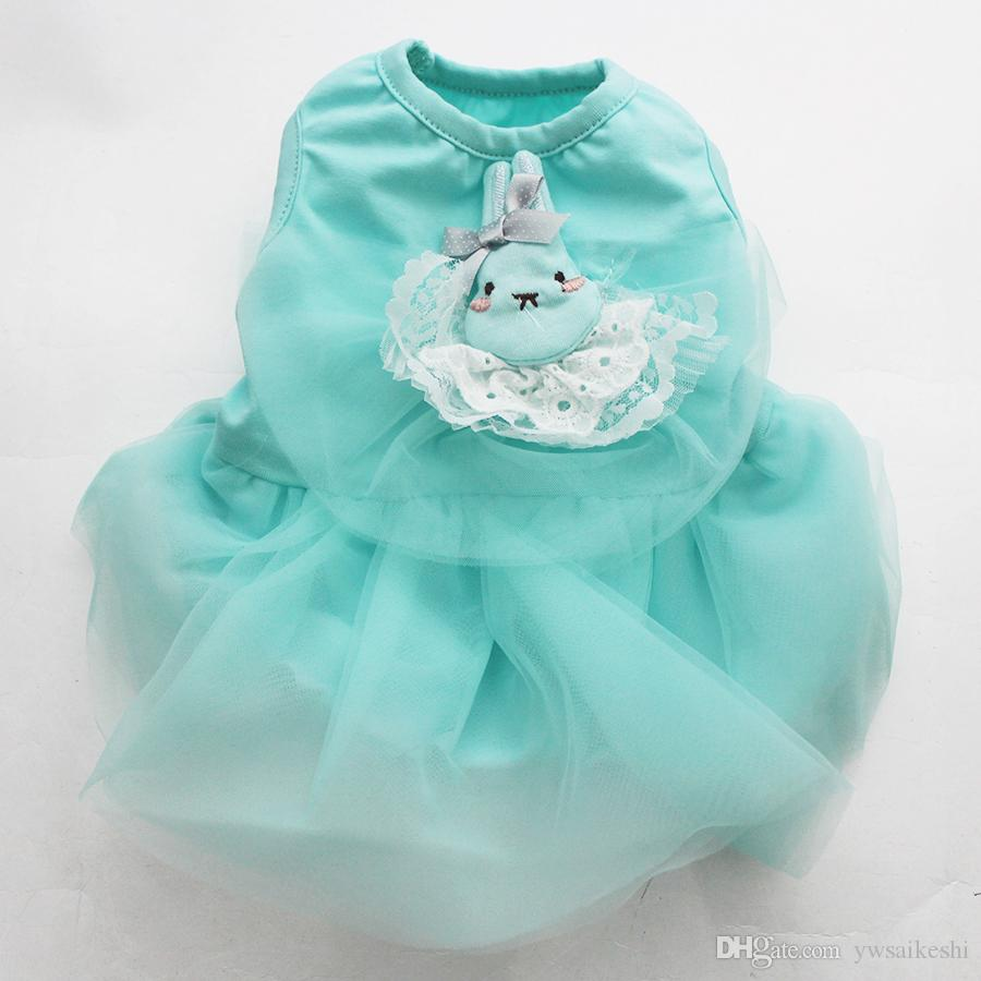 New Pet Dog Dress Shirt Rabbit&Lace Cat Puppy Skirt Clothes,dress dog 3 Colour 5 Sizes