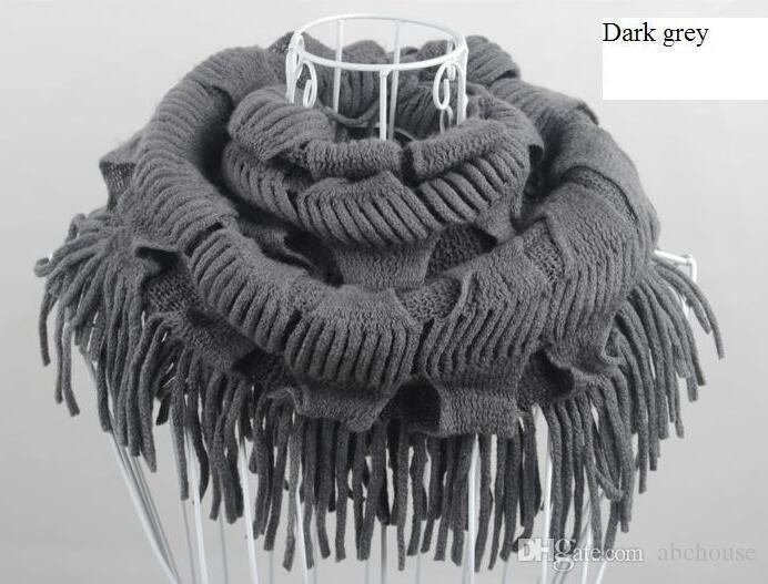 Womens Winter warm gestrickt geschichteten Fransen Quaste Hals Kreis Schal Snood Schal Cowl Girl Solid lange weiche Unendlichkeit Schals Wraps Free Shippin