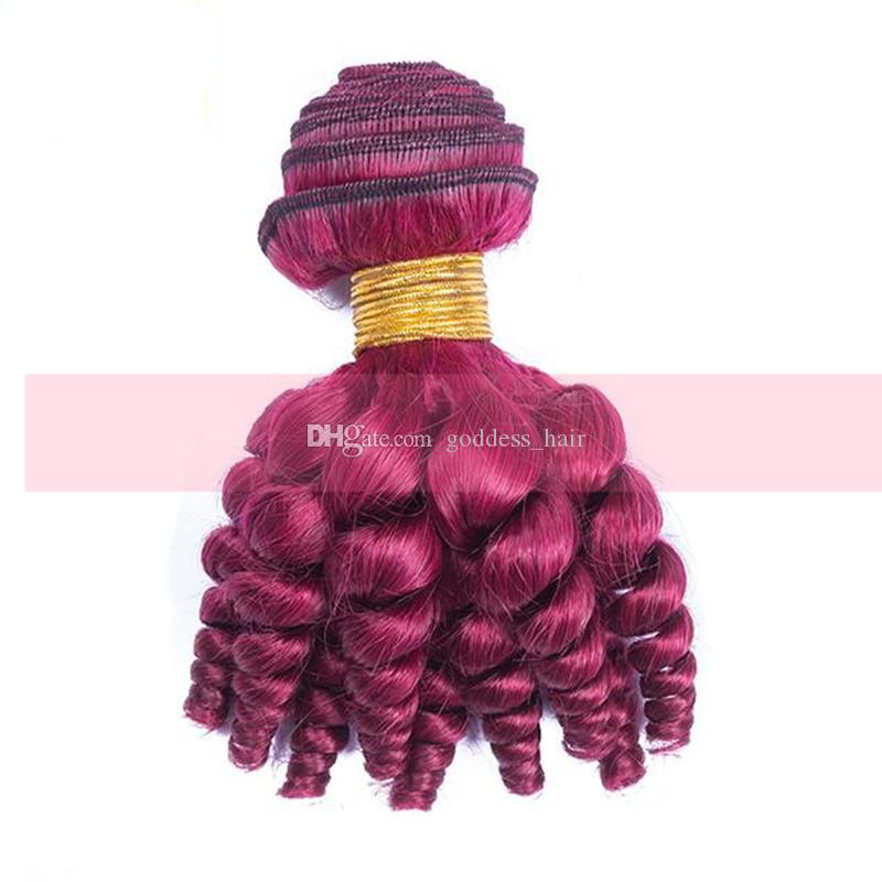 Новое прибытие перуанские Виргинские Funmi Бургундия #99j дешевые человеческие волосы ткет 8-30 дюймов вино красный романтика кудри уток волос Для женщины