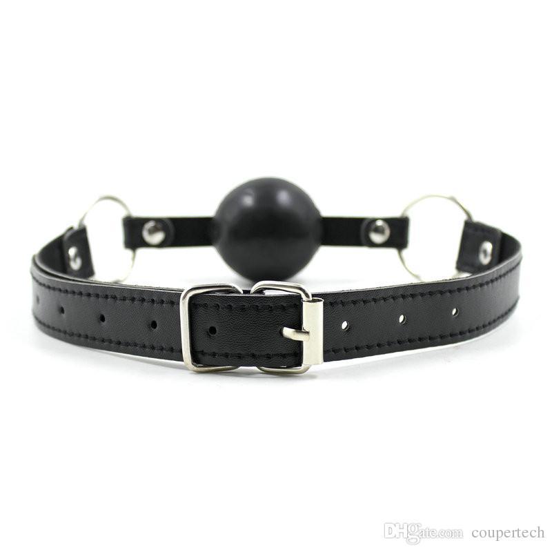 Productos sexy Sexo Correa de cuero Sexo Bondage Gear Boca abierta Bola de silicona No plástico Gag Transpirable Rojo Negro Ball CP-RC007