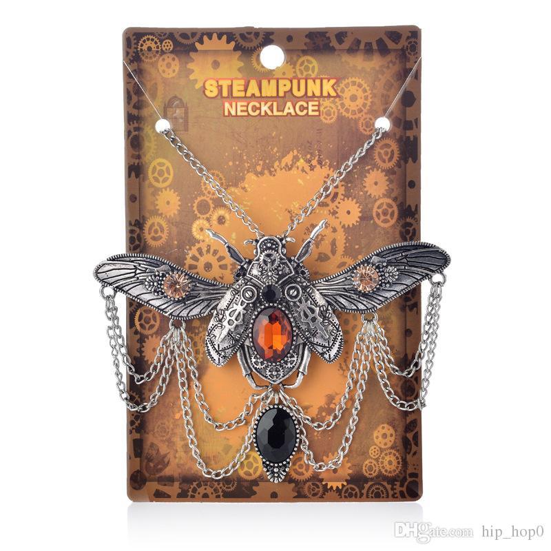 Vintage Steam Punk Schmuck Big Beetle Anhänger Halskette Frauen Aussage Zubehör Retro Bronze Alte Silber Kristall Schmuck Kostenloser Versand
