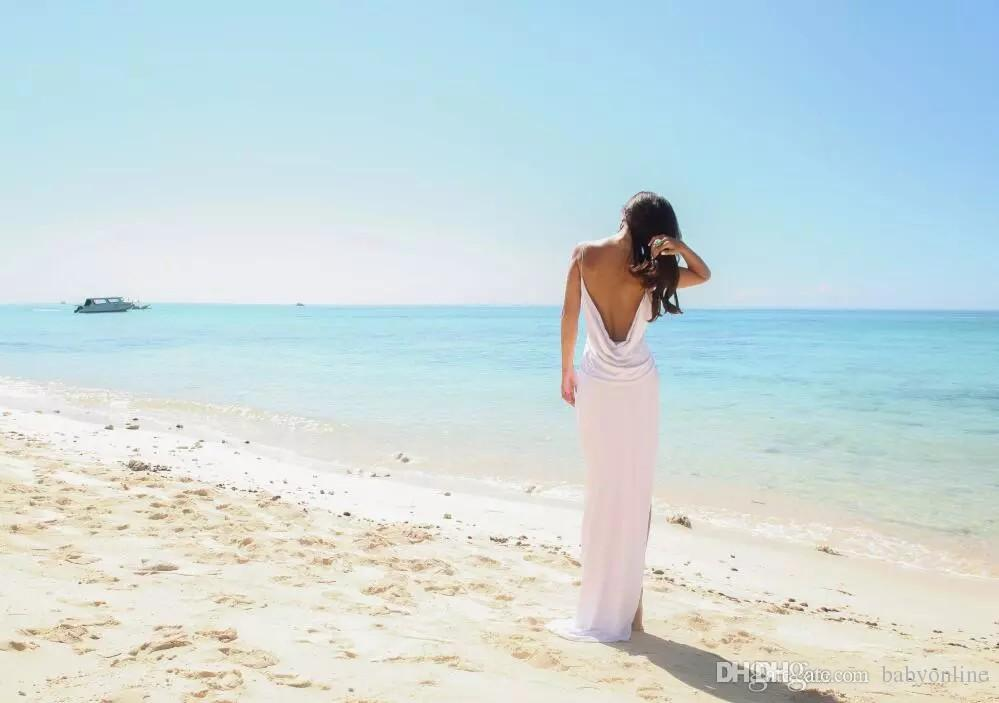 Sexy Beach Wedding Dresses Deep V Neck Spaghetti Straps Side Split Bridal Gowns White Chiffon Open Back Sheath Column Summer Cheap Dress