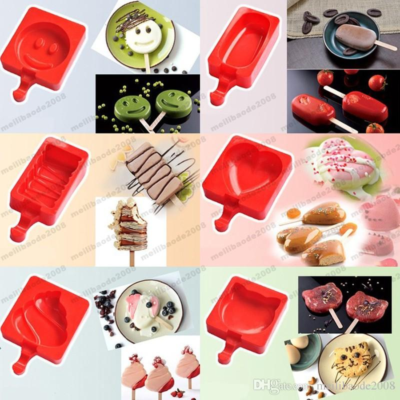 2017 NEW Cartoon DIY Heart Cat Foot Smile Shape Silicone Ice Cream Mold Popsicle Molds Ice Tray Cube Tools Frozen Popsicle Maker Holder MYY