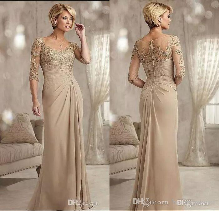 Wedding Dress Mother Of Bride: Champagne Mother Of The Groom Dresses Long 2017 Scoop Neck