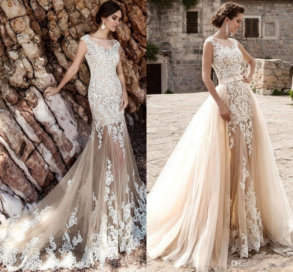 Discount 2017 A Line Sheath Wedding Dresses Jewel Neck Sheer Chagne Nude Tulle White Lace Appliques Overskirts Detachable Train Custom Bridal Gown Second: Plus Size Second Wedding Dresses Turquoise At Reisefeber.org