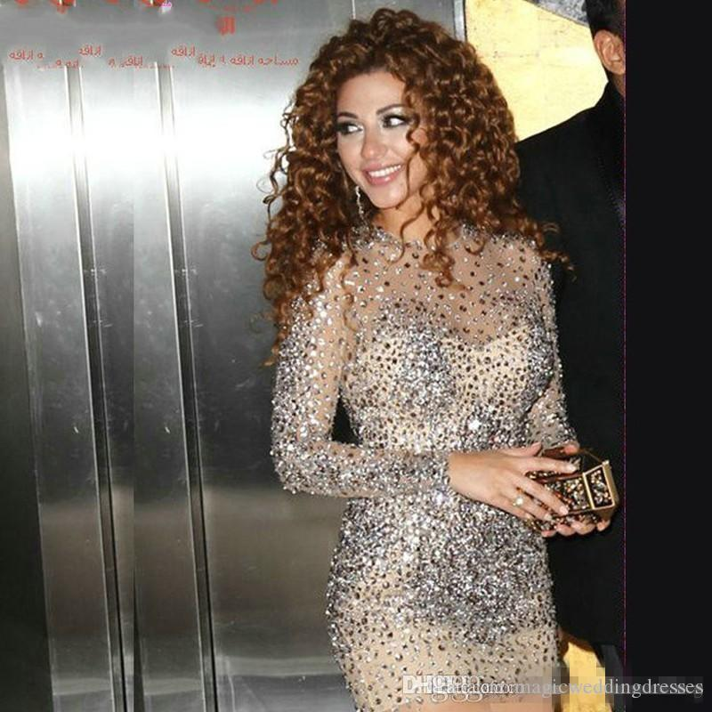 Saudi Arabia Myriam Fares Cocktail Dresses 2017 with Crystal Beaded Long Sleeve Sheath Luxury Short Prom Party Gowns With Rhinstones