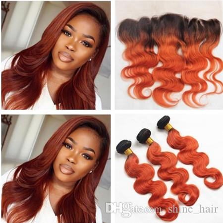 Brazilian orange ombre virgin human hair weaves with frontal closure brazilian orange ombre virgin human hair weaves with frontal closure body wave 1b350 dark root ombre full lace frontal 13x4 with 3bundles black human hair sisterspd
