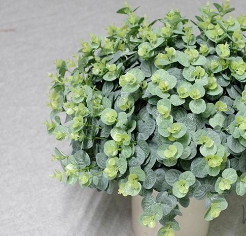 "Artificial Shrubs Plants 20"" Eucalyptus Leaves Fake Bushes Home Garden DIY Decor Light Green"