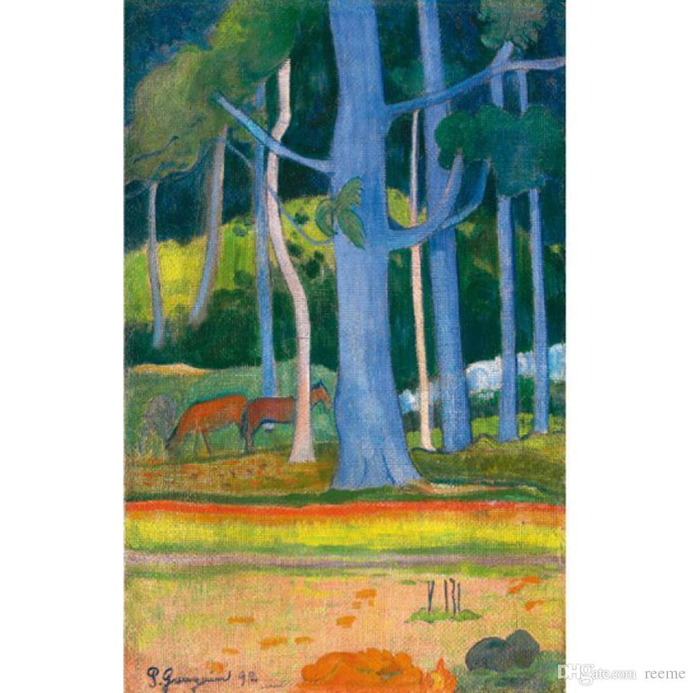 Handmade Paul Gauguin Paintings Landscapes Paysage Aux Troncs Bleus Modern  Art Oil on Canvas for Living Decor Oil Painting Handmade Living Room Decor  Online ... - Handmade Paul Gauguin Paintings Landscapes Paysage Aux Troncs Bleus